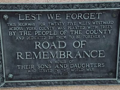 Road of Remembrance Marker in Wrightsville PA