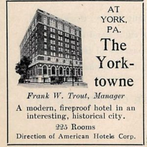 Eastern Tour Yorktowne Hotel advertisement